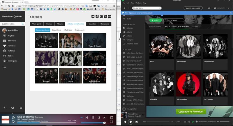 Influências do Spotify e Vivo Música